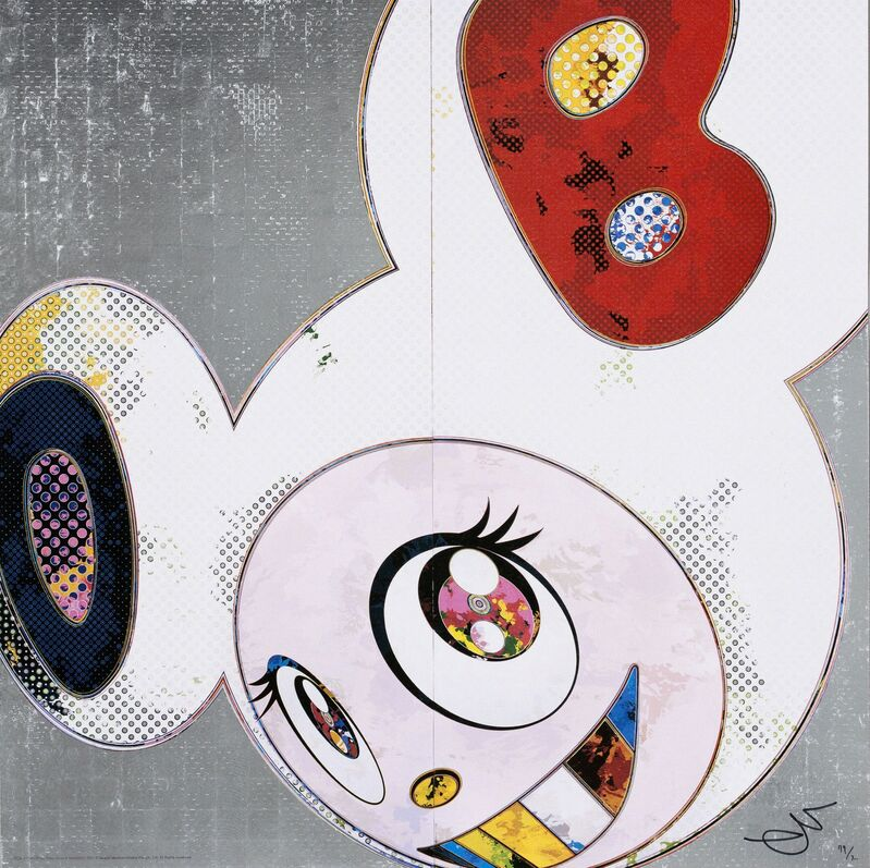 Takashi Murakami, 'DOB in Pure White Robe (Navy and Vermilion Ears)', 2013, Print, Print, Wada Garou Tokyo