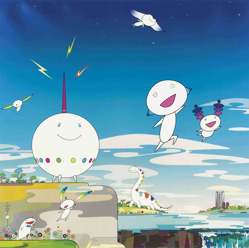 Takashi Murakami, 'The road to Illumination stretches too far ahead. How can I fend off the crashing waves of earthly desires? I am therein a mournful beast. The husk of humanity, too cruel.', 2008, Print, Offset print, Lougher Contemporary