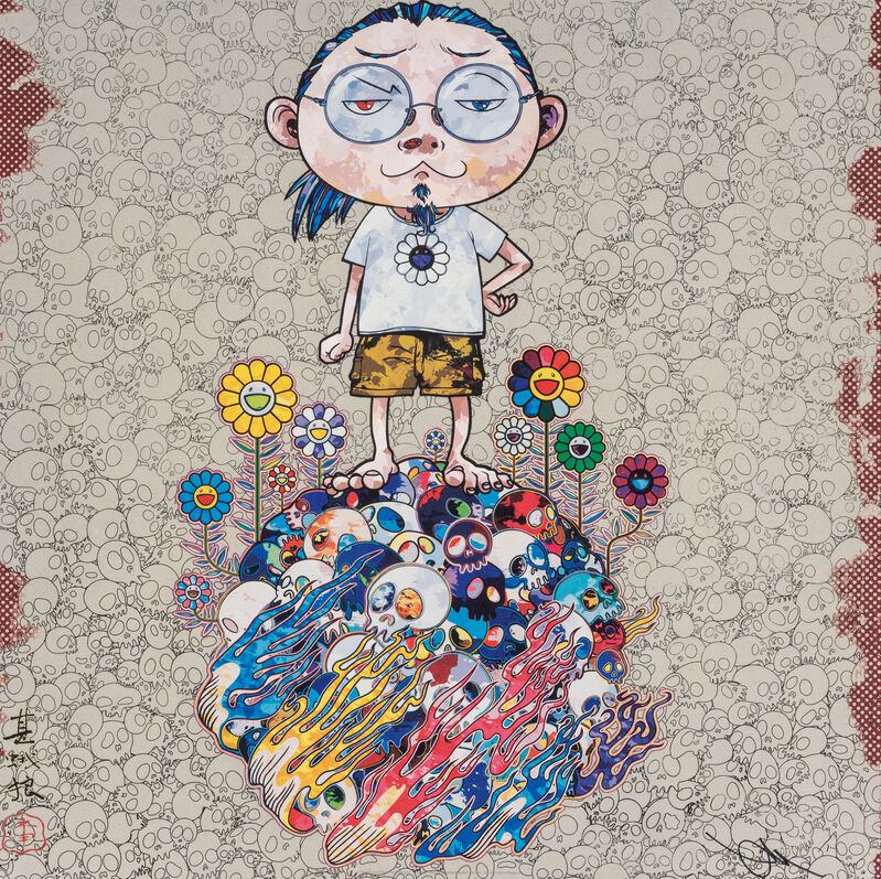 Takashi Murakami, 'Flowers and Death and Me and ...', 2013, Print, Offset print with silver, Pinto Gallery
