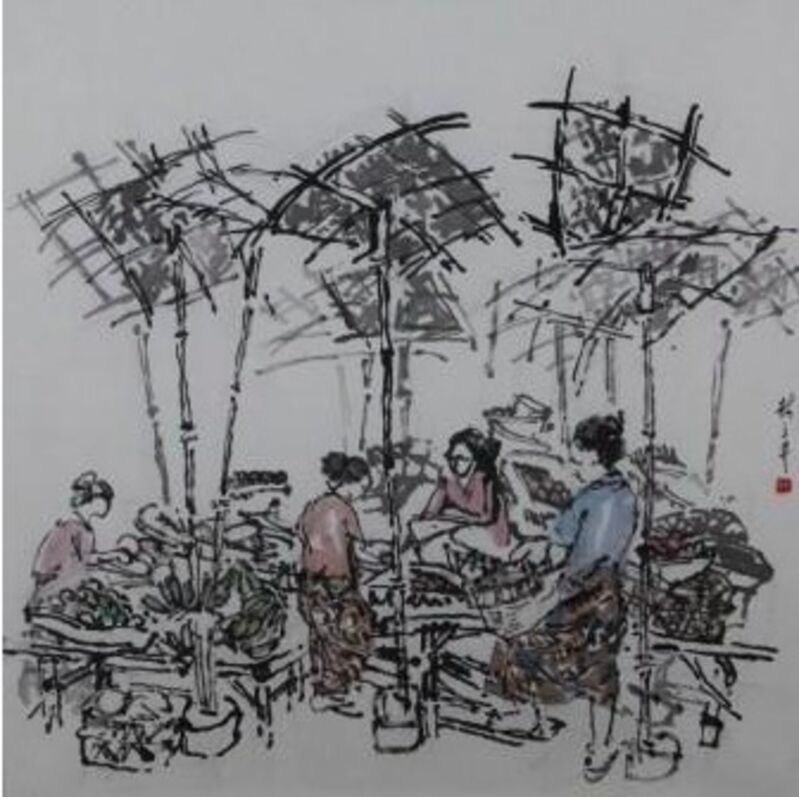 Lim Tze Peng, 'Chestnuts for Sale', Drawing, Collage or other Work on Paper, Ink on paper, Ode to Art