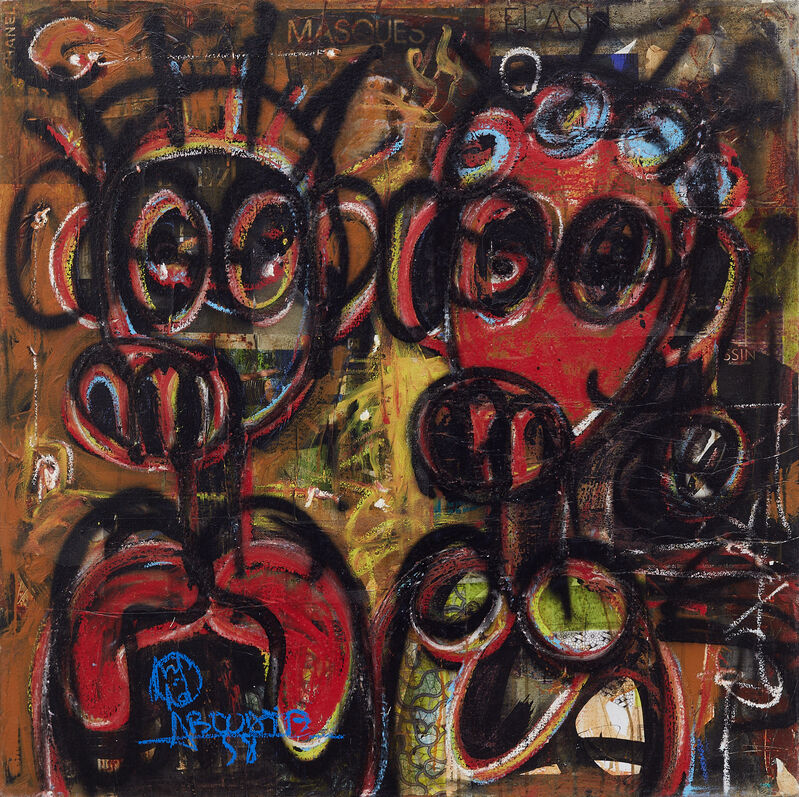 Aboudia, 'Untitled', 2021, Painting, Acrylic, collage & oil pastel on canvas, Jack Bell Gallery
