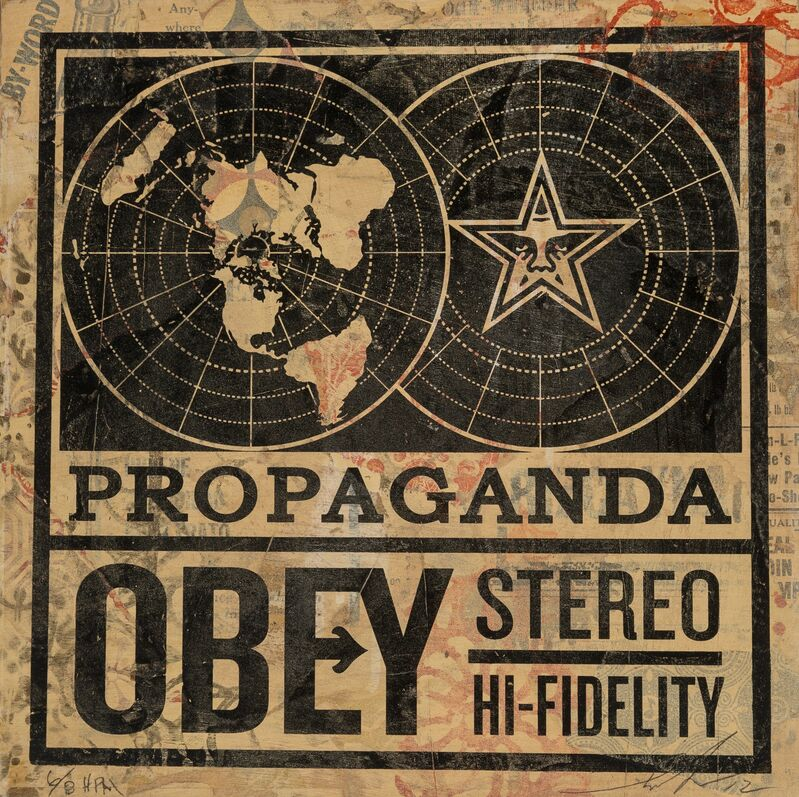 Shepard Fairey, 'Propaganda Stereo (HPM)', 2012, Print, Screenprint and mixed media collage on board, Heritage Auctions