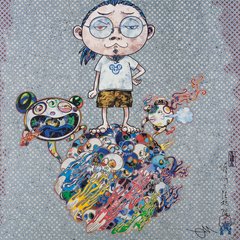 Takashi Murakami, 'Mr. DOB Comes to Play His Flute', 2013, Print, Offset print with silver, Pinto Gallery
