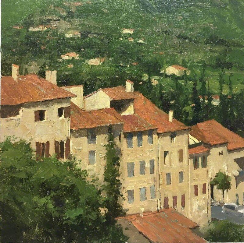 Donald W. Demers, 'Buildings of Seillans France', 2018, Painting, Oil on linen panel, Helena Fox Fine Art
