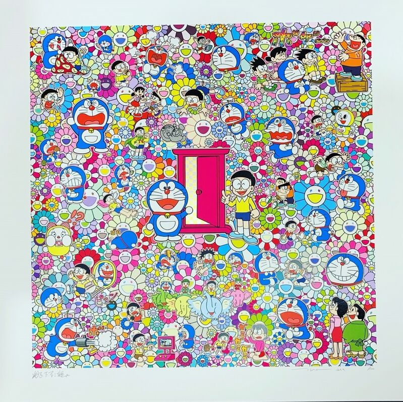 Takashi Murakami, 'Many Things Await Beyond Anywhere Door (Dokodemo Door)', 2019, Print, Silkscreen with cold stamp, Vogtle Contemporary