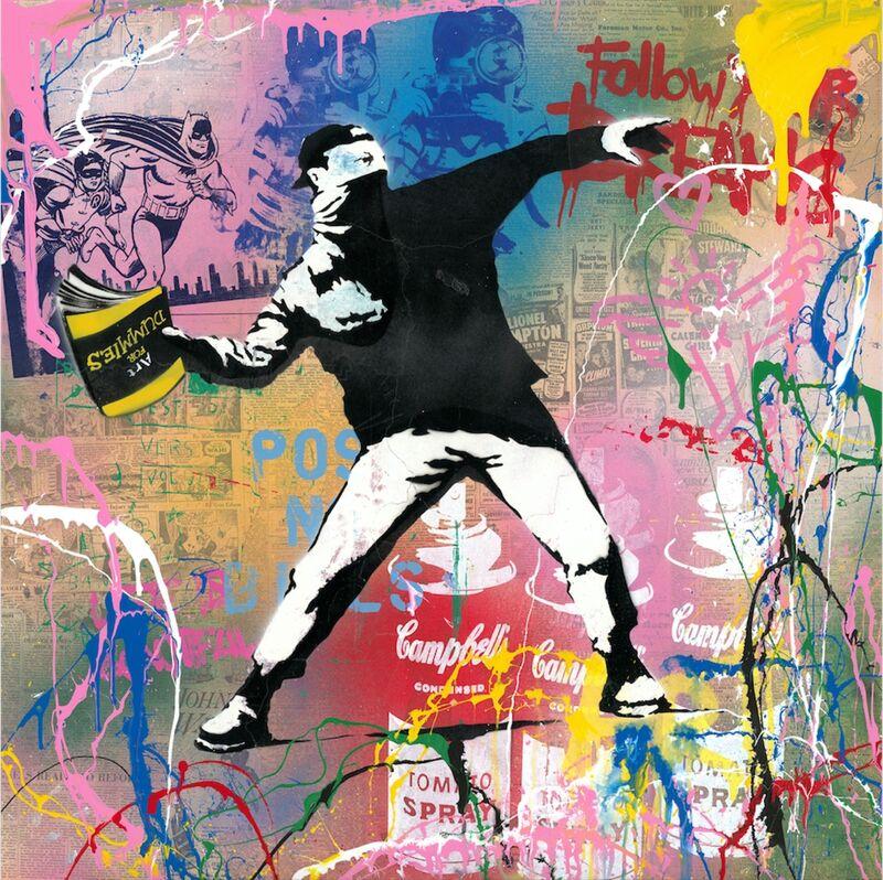 Mr. Brainwash, 'Banksy Thrower', 2019, Mixed Media, Silkscreen and mixed media on paper, Taglialatella Galleries