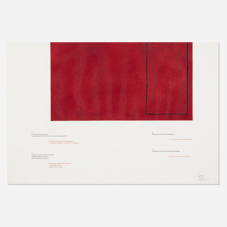 Robert Motherwell, 'A la pintura: Red 4-7', 1969, Print, Etching and letterpress in colors on J.B. Green white wove paper, Rago/Wright/LAMA