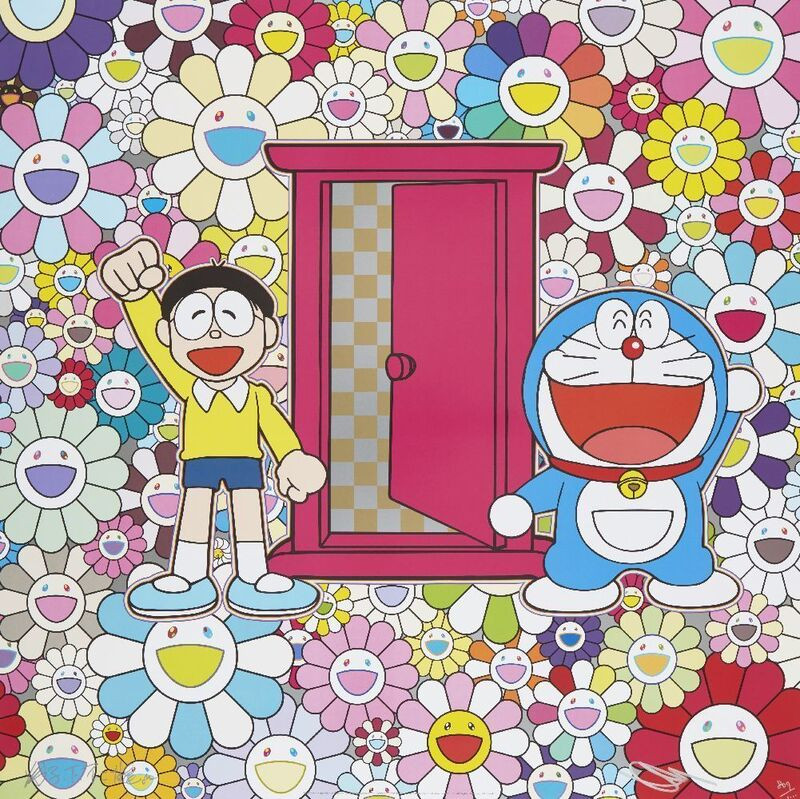 Takashi Murakami, 'We Came to the Field of Flowers Through Anywhere Door (Dokodemo Door)', 2018, Print, Offset lithograph in colours on satin wove, Roseberys