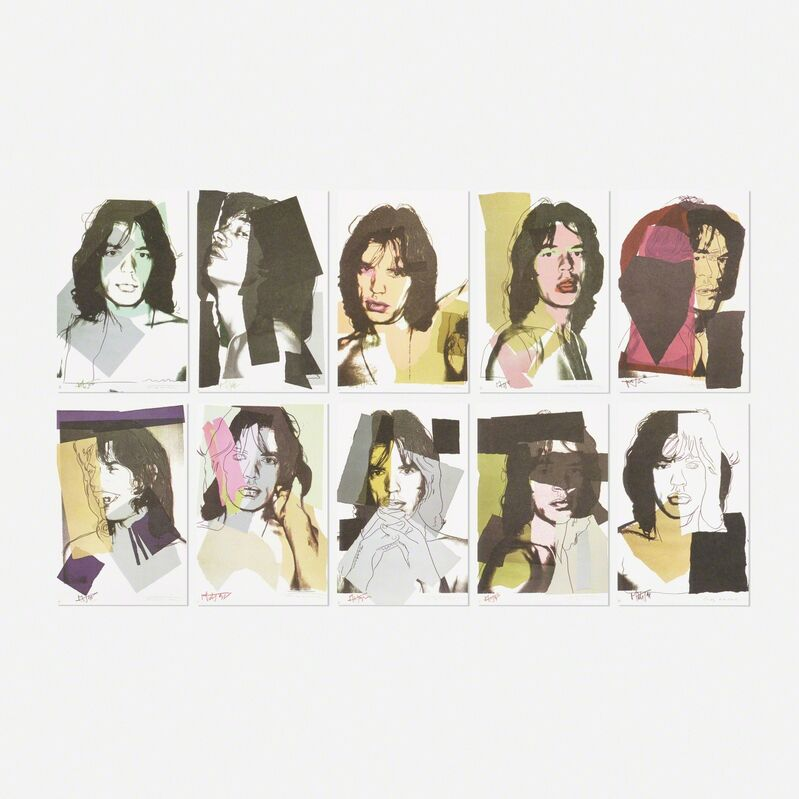 Andy Warhol, 'Mick Jagger Sample portfolio (ten works)', 1975, Drawing, Collage or other Work on Paper, Offset color lithograph on paper, Rago/Wright/LAMA