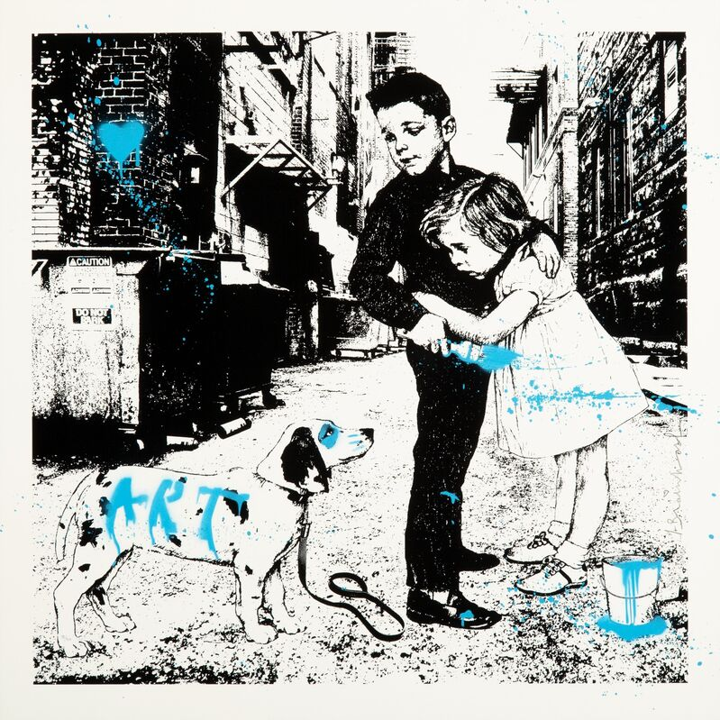 Mr. Brainwash, 'Pup Art (Blue)', 2012, Print, Screenprint in colors with stencil and hand-embellishments on Archival Art paper, Heritage Auctions