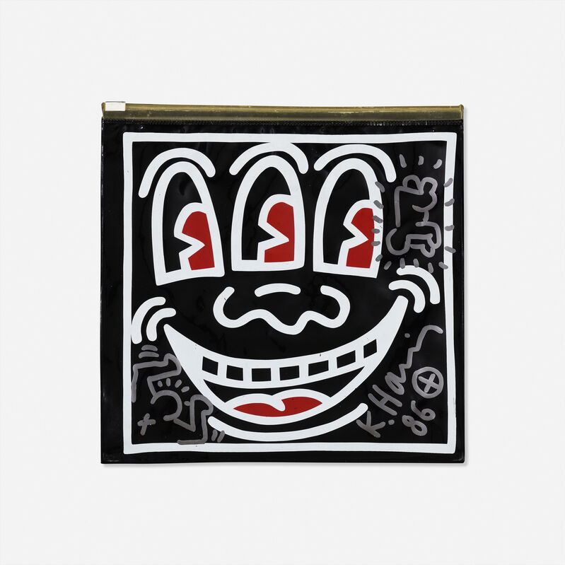 Keith Haring, 'Untitled (Pop Shop toiletry bag with radiant baby drawing)', 1986, Other, Silver felt-tip marker on plastic toiletry bag, Rago/Wright