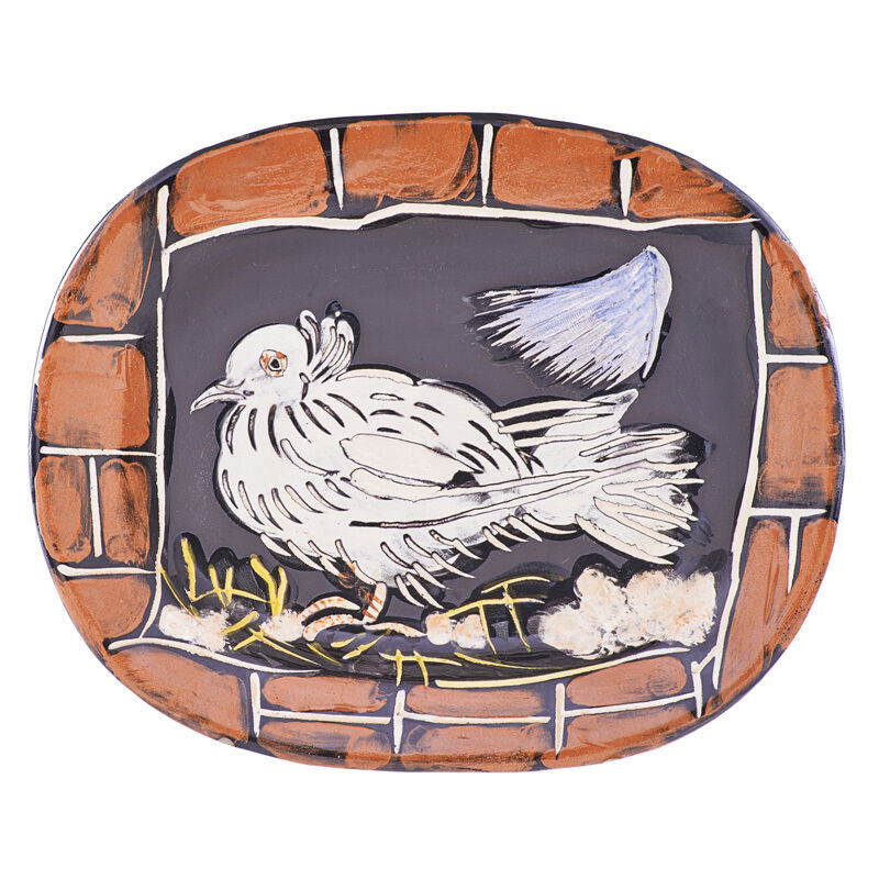"""Pablo Picasso, 'Large charger, """"Dove at the Dormer (Colombe à la Lucarne),"""" France', des. 1949, Design/Decorative Art, Glazed and incised earthenware decorated in engobe, Rago/Wright"""