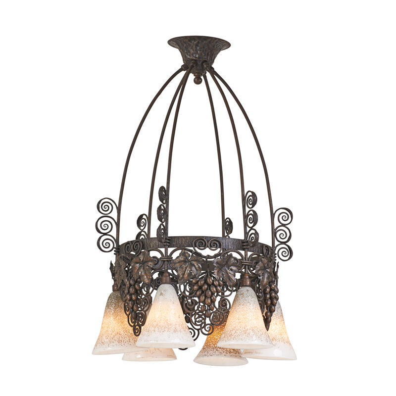 Edgar Brandt, 'Daum, Chandelier With Grapes, France', 1930s, Design/Decorative Art, Patinated wrought iron, glass, six sockets, Rago/Wright