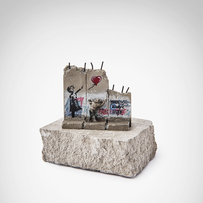 Banksy, 'Walled Off Hotel - Girl With Balloon', Sculpture, Three-part Souvenir Wall Section, hand-painted resin sculpture with West Bank Separation Wall base, Tate Ward Auctions