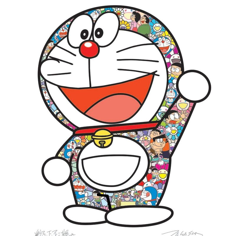 Takashi Murakami, 'Doraemon Thank You', 2020, Print, Offset print, with silver and high gloss varnishing, Pinto Gallery