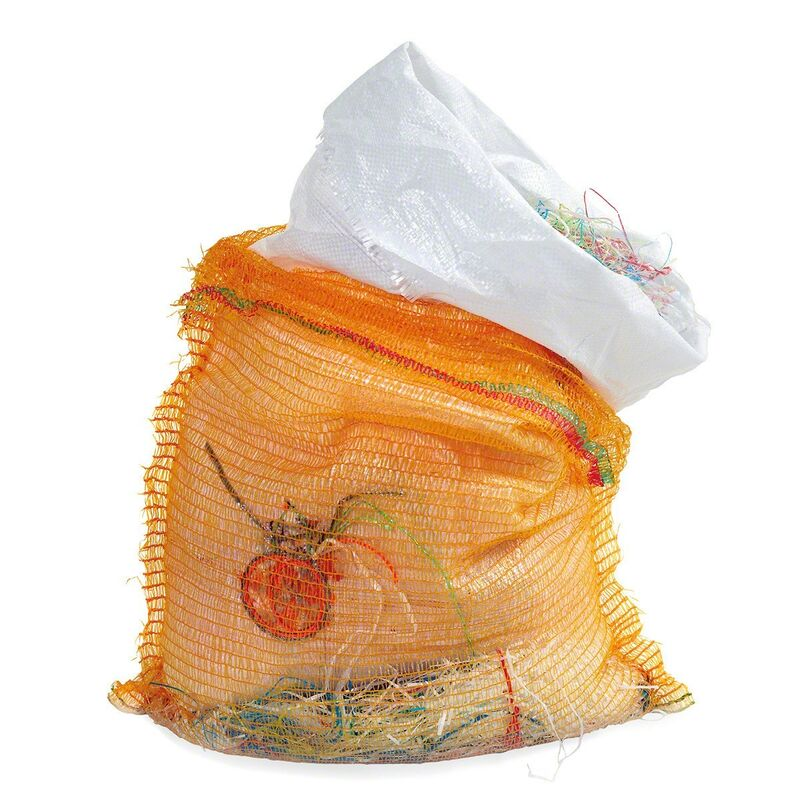 May Hands, 'Oranges', 2015, Sculpture, Embroidered Oranges,  applied on woven plastic bags filled with plastic fringes and rustling sacks/ fruit- vegetables nets, LRRH_