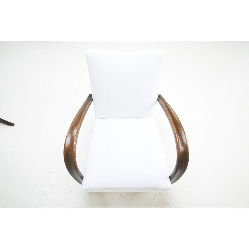 Jindrich Halabala, 'Two Lounge Chairs, Czechoslovakia', 1940s, Design/Decorative Art, Stained Beech, Upholstery, Rago/Wright