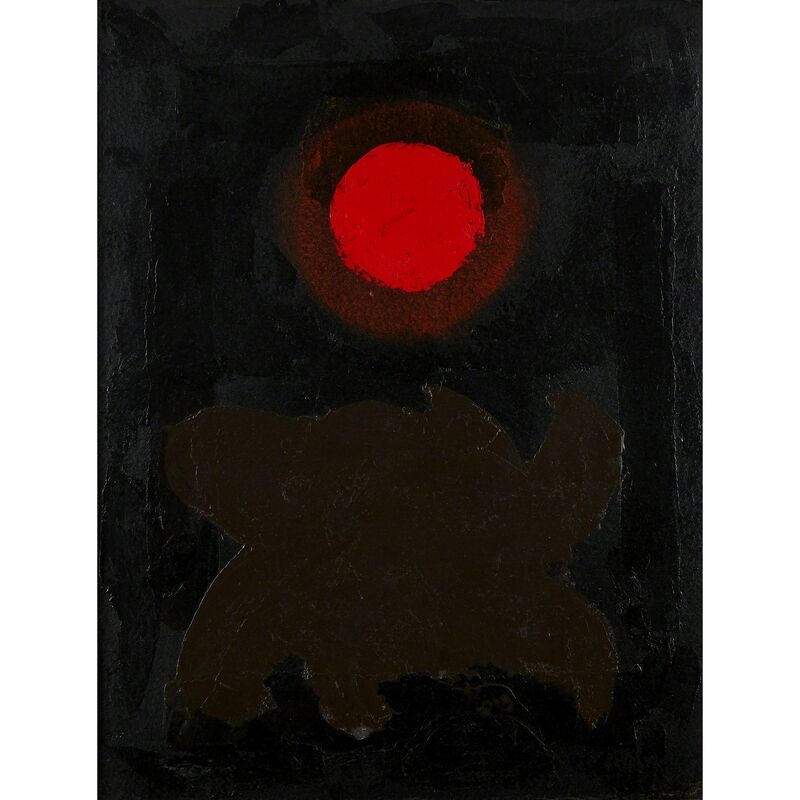 Adolph Gottlieb, 'Brown On Black', 1970, Mixed Media, Oil and acrylic on paper mounted to fiberglass fabric with a mylar backing, Freeman's