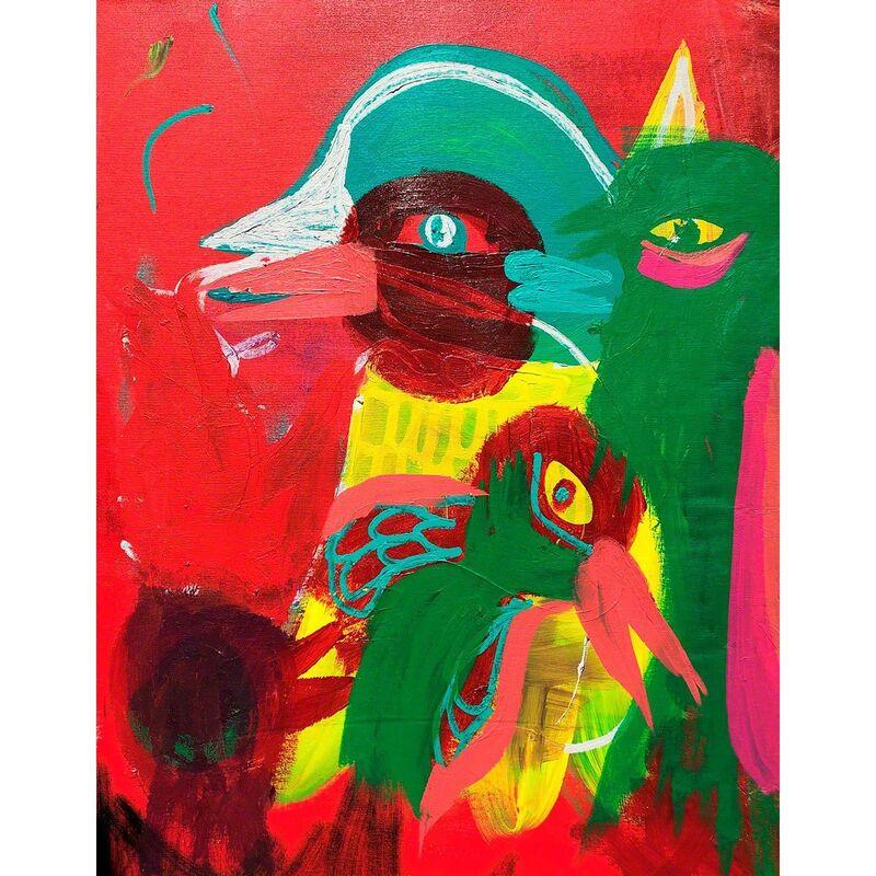 Carlos Dias, 'Bird Family', 2018, Painting, Mixed media on canvas (framed), Olivia Connelly