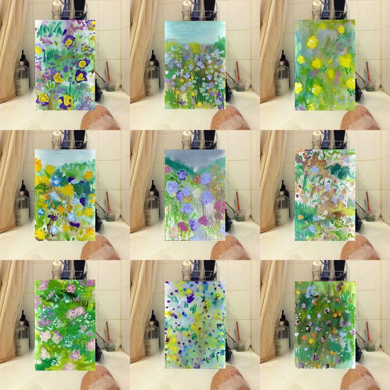 Morgan Mandalay, 'Tub Paintings 1-6, July 7 Tub Paintings 7-9, July 20', 2014, Performance Art, Bath tub performance, watercolor landscape painting, Tatjana Pieters