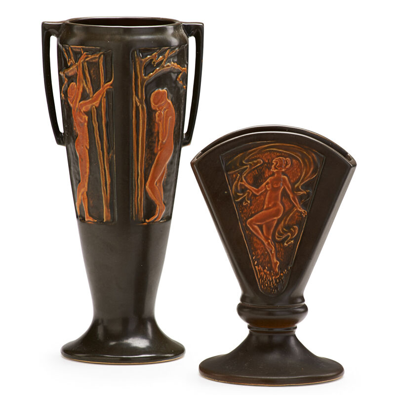 """Roseville Pottery, 'Two Brown Rosecraft Nude Panel Vases: One 8"""" Fan Vase And One Two-Handled 11"""" Vase, Zanesville, OH', 1920, Design/Decorative Art, Rago/Wright/LAMA"""