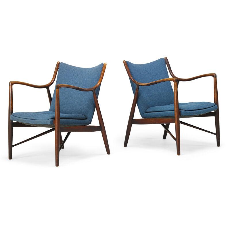 Finn Juhl, 'Pair Of Nv-45 Lounge Chairs, USA/Denmark', 1950s, Design/Decorative Art, Sculpted Walnut, Upholstery, Rago/Wright