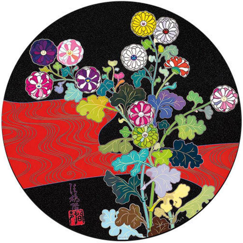 Takashi Murakami, 'Kansei Korin Red Stream', 2009, Print, Serigraph in colors, Nohra Haime Gallery