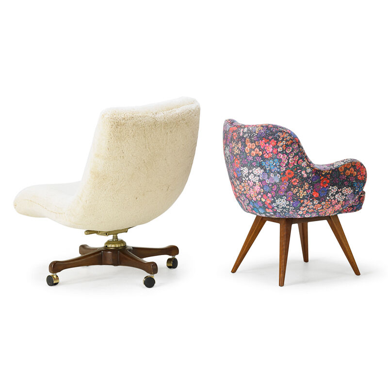 Vladimir Kagan, 'Two Lounge Chairs, New York', 1950s, Design/Decorative Art, Walnut, Boris Kroll Fabric, Alpaca, Casters, Rago/Wright