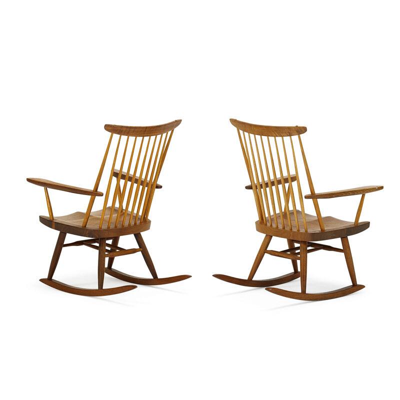 George Nakashima, 'Pair Of Rocking Chairs, New Hope, PA', 1975, Design/Decorative Art, Walnut, Hickory, Rago/Wright