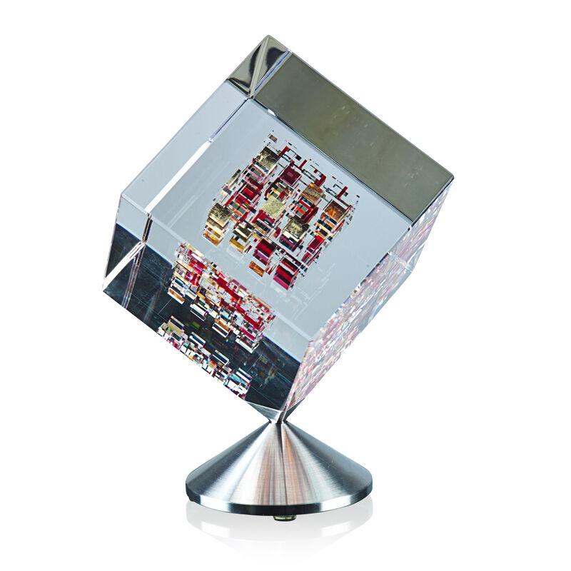 "Jon Kuhn, 'Spinning cube, ""Red Barron,"" Winston-Salem, NC', 2001, Design/Decorative Art, Ground, polished, and laminated glass, brushed metal, Rago/Wright/LAMA"