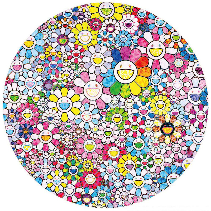 Takashi Murakami, 'Happy × A Trillion Times: Flower', 2020, Print, Offset lithograph with cold stamp, Lougher Contemporary