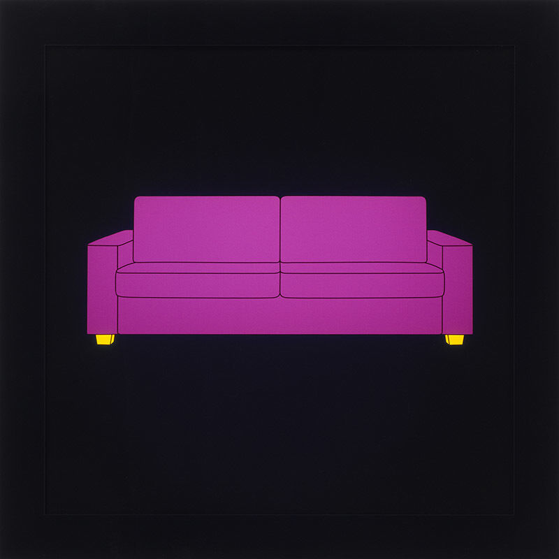 Michael Craig-Martin, 'Sofa', 2013, Print, One from a series of 6 LED lightboxes with images inkjet printed onto clear acrylic and mounted in a black acrylic frame, Jonathan Novak Contemporary Art