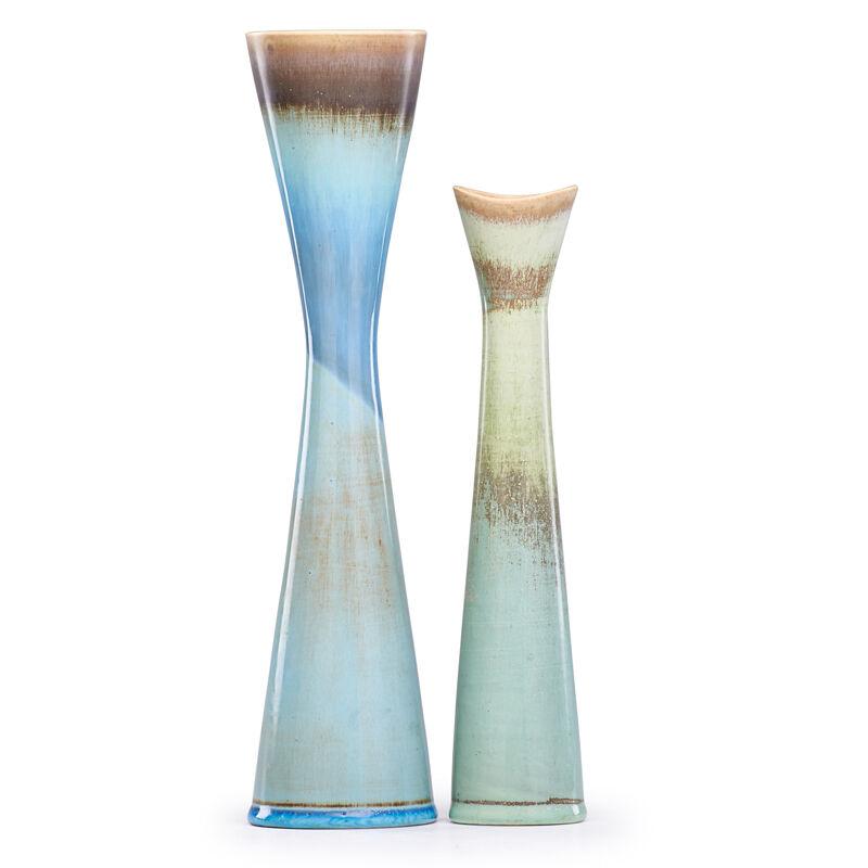Stig Lindberg, 'Two Corseted Vases, Turquoise and Blue Hare'S Fur Glazes, Sweden', mid-20th C., Design/Decorative Art, Glazed Stoneware, Rago/Wright