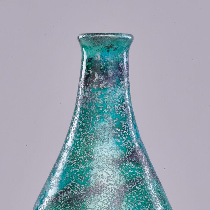 Gertrude Natlzer, 'Bottle-Shaped Vase, Los Angeles, CA', Design/Decorative Art, Turquoise And Gunmetal Glaze, Rago/Wright