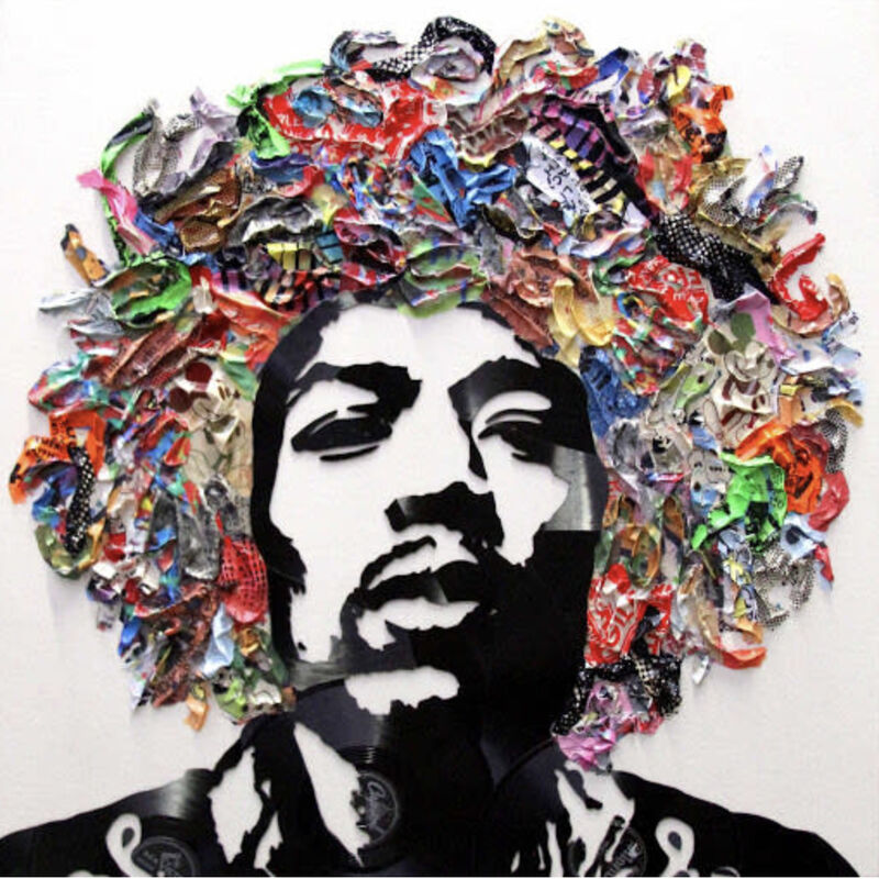 Mr. Brainwash, 'Jimi Hendrix', 2019, Mixed Media, Broken vinyl records on canvas, Cha Cha Gallery