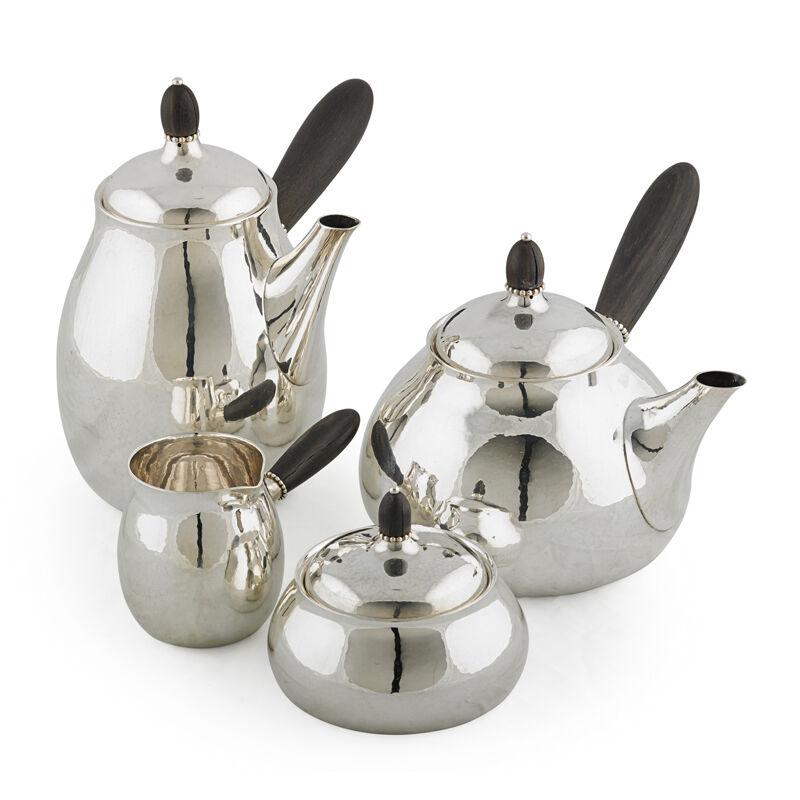 Georg Jensen, 'Four-Piece Assembled Tea And Coffee Set, Teapot (80C), Coffee Pot (80C), Creamer (80B), And Lidded Sugar (80B), Denmark', After 1945, Design/Decorative Art, Sterling silver, ebony, Rago/Wright/LAMA