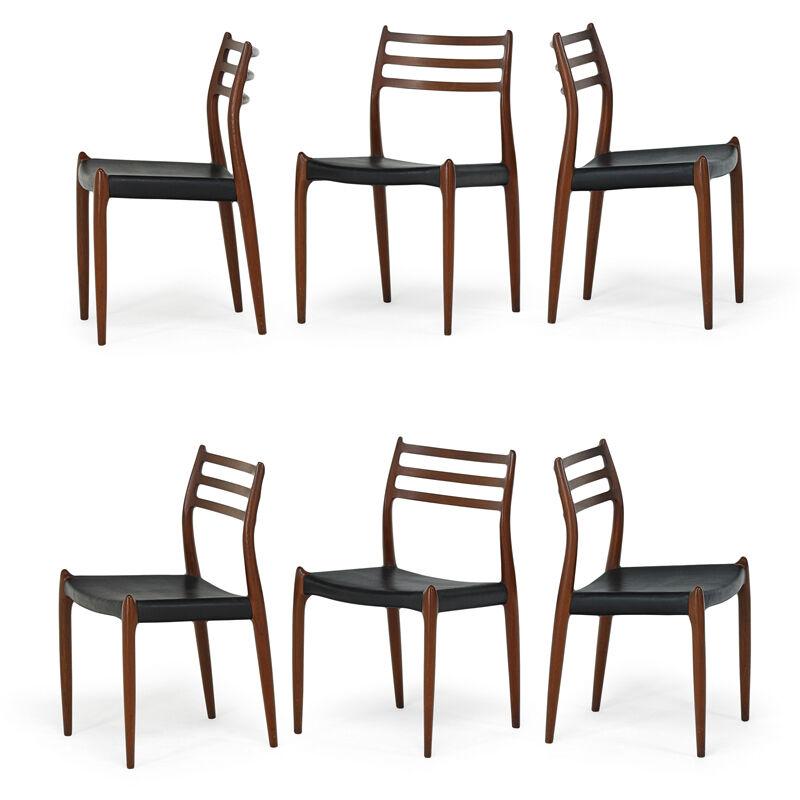 Niels Otto Møller, 'Falster Dining Table And Set Of Six Moller Side Chairs, Denmark', 1970s, Design/Decorative Art, Teak, Vinyl, Rago/Wright