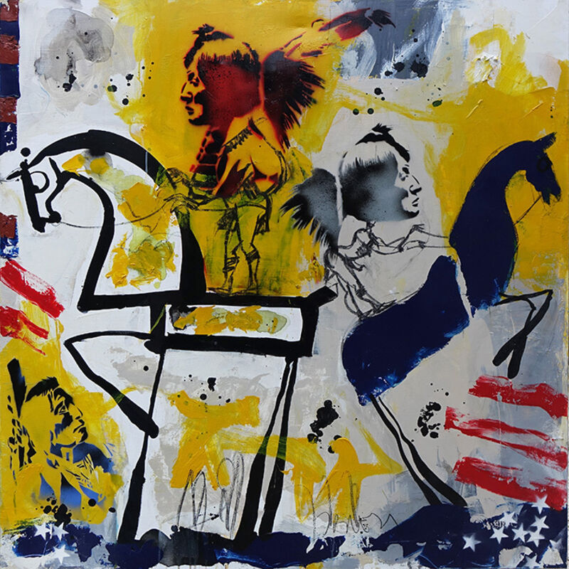 Jacques Blézot, 'Two Indians', 2018, Painting, Mixed-media on canvas, Galry