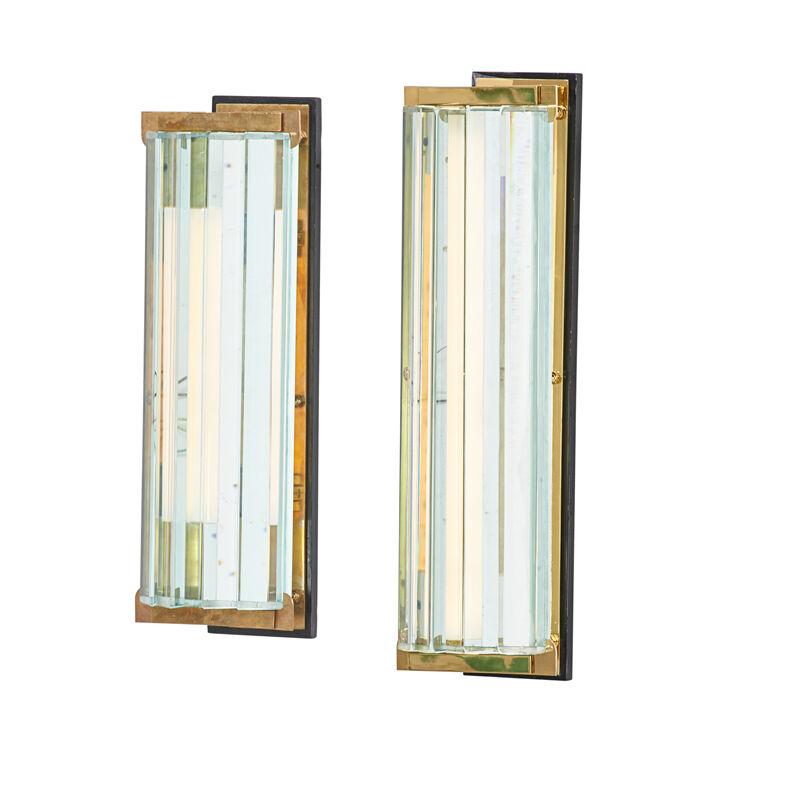 Fontana Arte, 'Pair Of Sconces, Italy', ca. 1950, Design/Decorative Art, Glass, Brass, Enameled Wood, Fluorescent Tubes, Rago/Wright