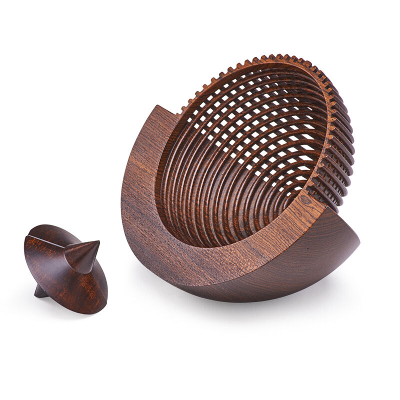 Hans Joachim Weissflog, 'Rocking Bowl And Drunken Wood Box, Germany', 1990s, Design/Decorative Art, Turned Wood, Rago/Wright