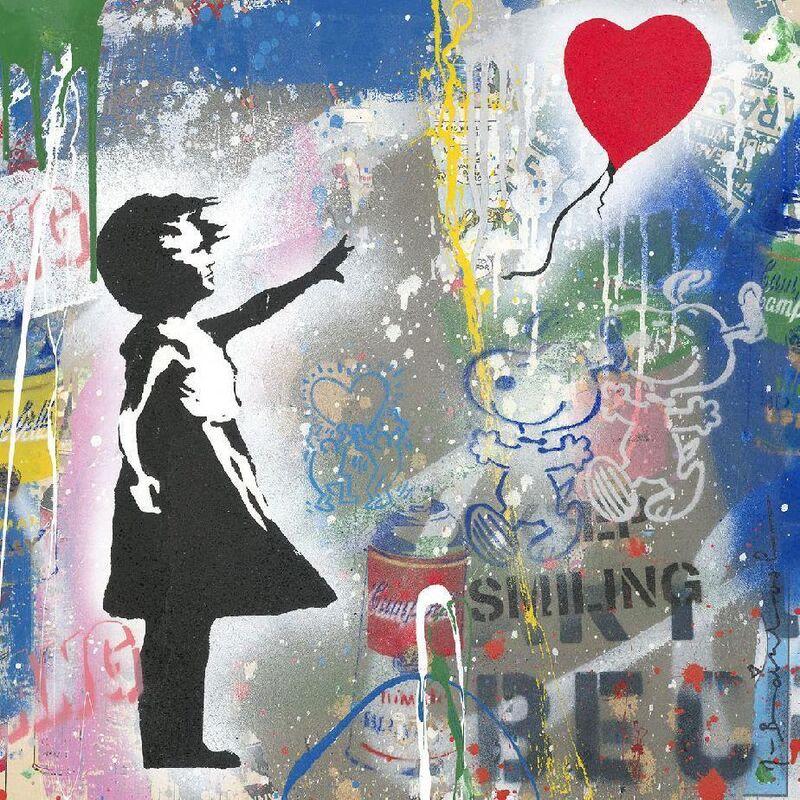 Mr. Brainwash, 'Balloon Girl', 2020, Mixed Media, Silkscreen and mixed media on paper, New River Fine Art