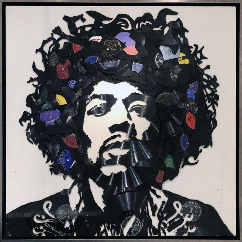 Mr. Brainwash, 'Jimi Hendrix', 2016, Design/Decorative Art, Records on Canvas, AND COLLECTION CONTEMPORARY ART