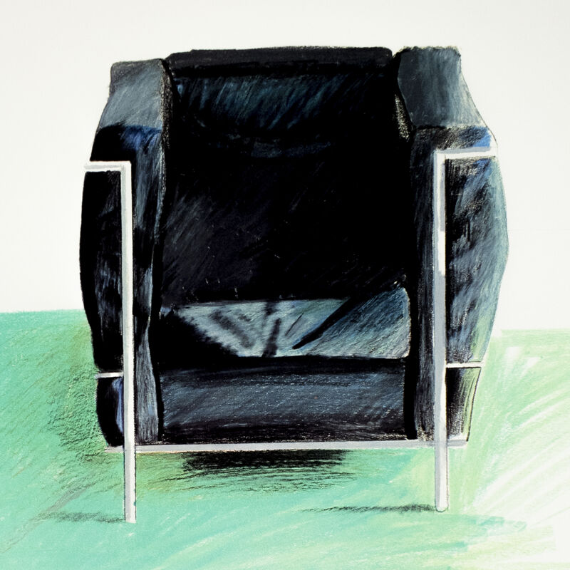David Hockney, 'Andre Emmerich Gallery 1969 (Corbusier Chair and Rug 1969) ', 1969, Posters, Offset lithograph on heavy weight paper, Petersburg Press