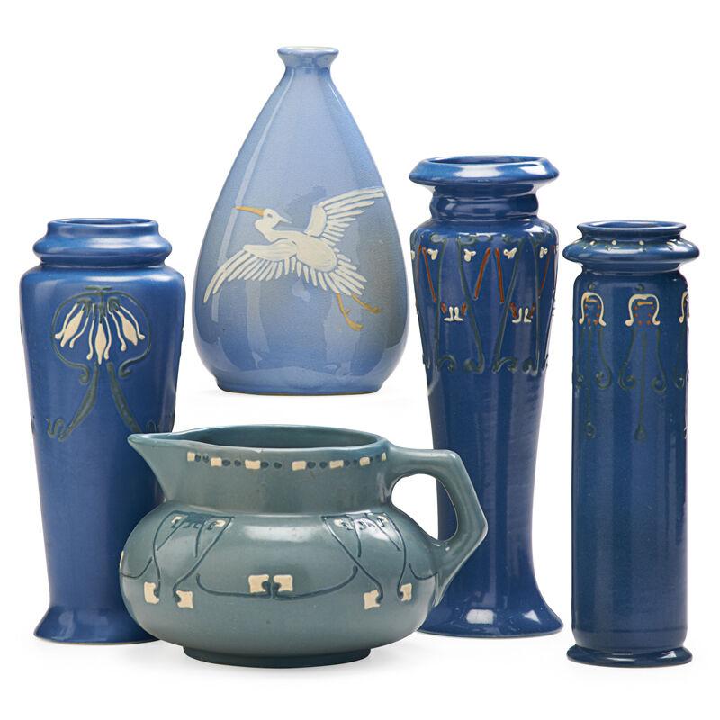 Weller Pottery, 'Three Aztec Vases, One Aztec Pitcher and One Jap Birdimal Vase with Stork, Zanesville, OH', ca. 1904, Design/Decorative Art, Rago/Wright