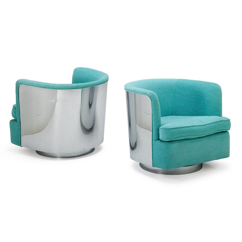 Milo Baughman, 'Pair Of Tilt-Swivel Lounge Chairs, High Point, NC', 1970s, Design/Decorative Art, Chromed Steel, Upholstery, Rago/Wright/LAMA
