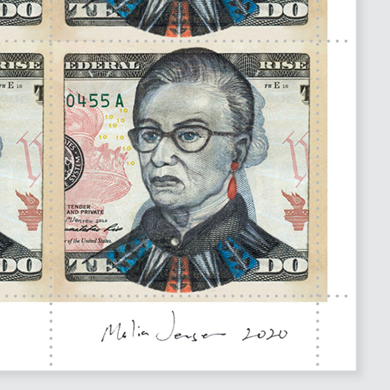 Malia Jensen, 'RBG Stamps (2020 edition)', 2020, Print, 12 stamps printed on lick-able, gummed paper with perforated pinholes, Artware Editions