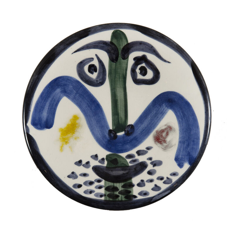 Pablo Picasso, 'Visage n°130 (A.R.479)', 1963, Design/Decorative Art, White earthenware plate, painted in black, green, blue, yellow, red and glazed, HELENE BAILLY GALLERY