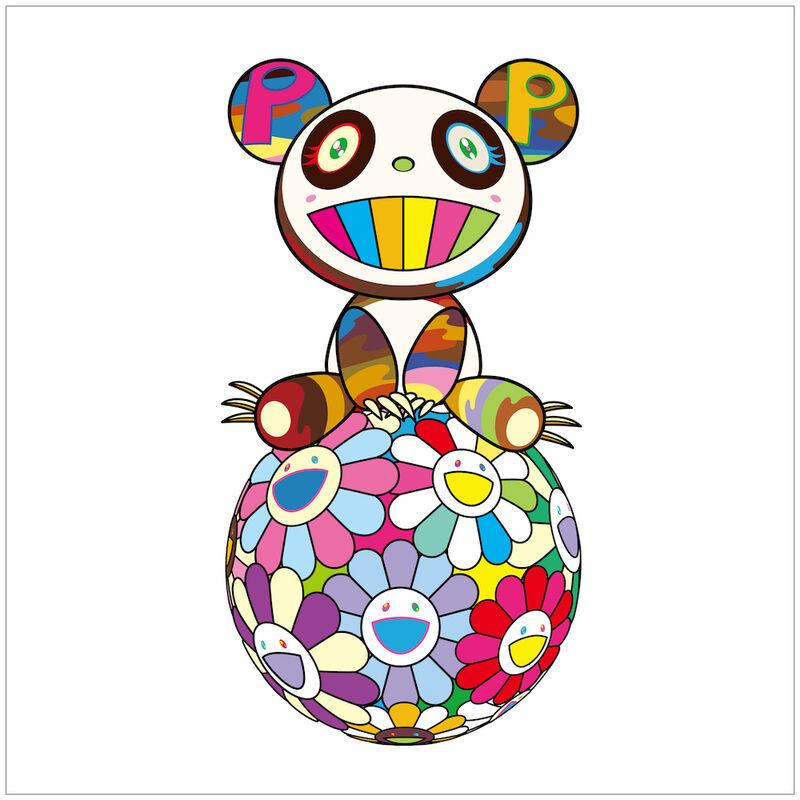 Takashi Murakami, 'Atop a Ball of Flowers, a Panda Cub Sits Properly', 2020, Print, Silkscreen, Rite Gallery