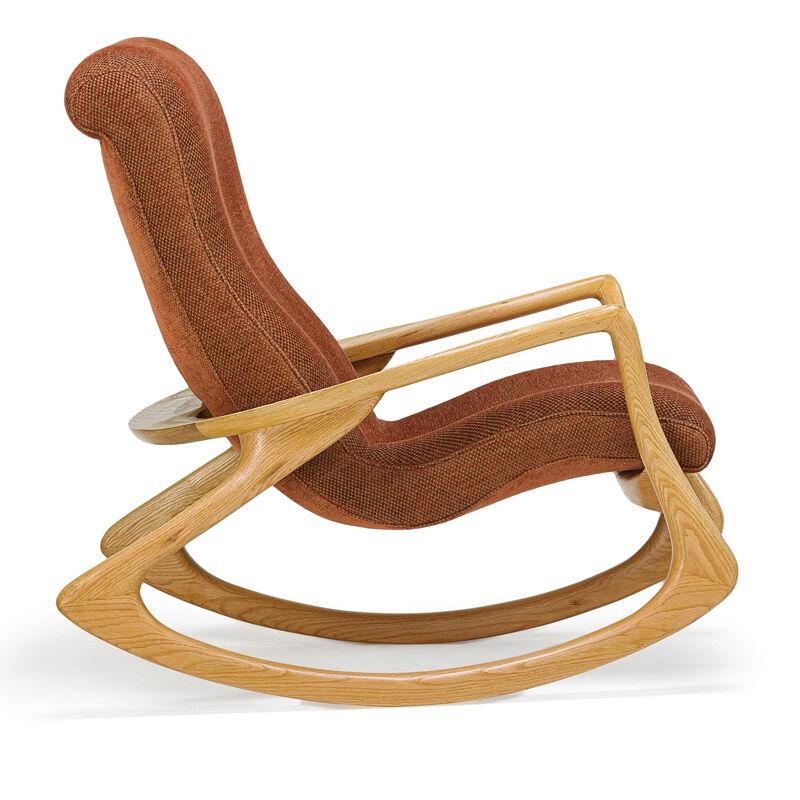 Vladimir Kagan, 'Rocking Chair, New York', 1970s, Design/Decorative Art, Sculpted oak, upholstery, Rago/Wright