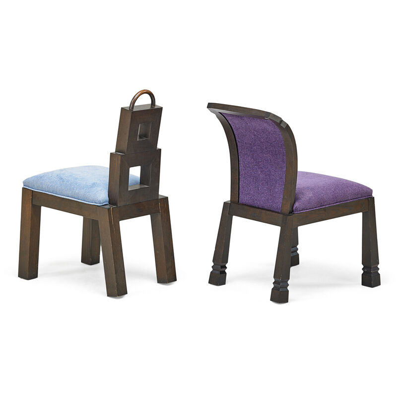 Wendell Castle, 'Two Chairs, New York', 2000s, Design/Decorative Art, Stained wood, Patinated Copper, Upholstery, Rago/Wright